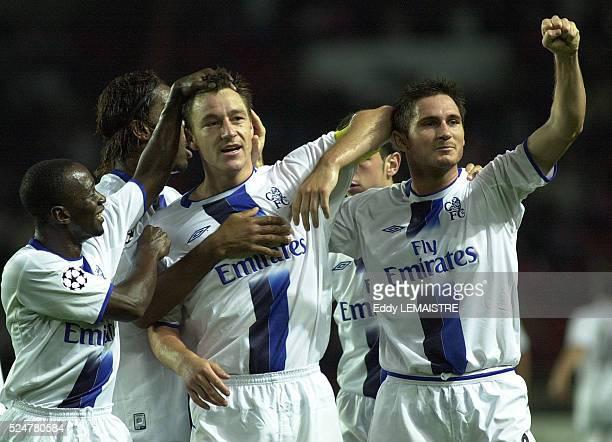 Premier League Championship: John Terry and Franck Lampard celebrate a goal.