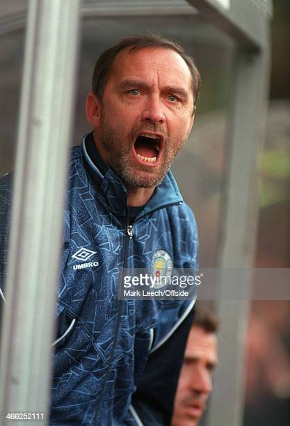 Premier League Football Manchester City v Nottingham Forest City manager Brian Horton shouts from the dugout