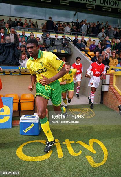 Premier League Football Norwich City v Arsenal Efan Ekoku of Norwich runs out of the tunnel at Carrow Road