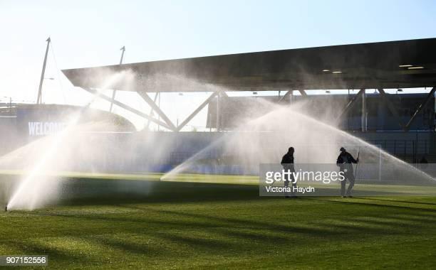 Premier League International Cup, Semi Final, Manchester City u21 v Leicester City u21, City Football Academy Stadium, Manchester City's groundsmen...