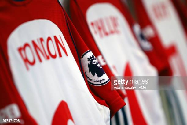 Premier League logo / badge is seen on the sleeve of a player of West Bromwich Albion shirt as it hangs in the away dressing room ahead of the match...