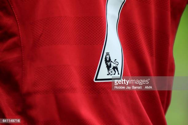 Premier League logo on the back of a shirt during the Premier League match between Hull City and Liverpool at KCOM Stadium on February 4 2017 in Hull...