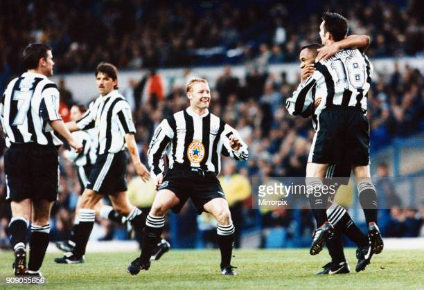 Premier League match at Elland Road Leeds United 0 v Newcastle United 1 Match winner Keith Gillespie is congratulated by jubilant teammates including...
