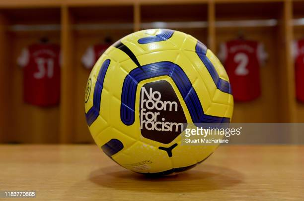 Premier League 'No room for racism' winter ball in the home changing room before the Premier League match between Arsenal FC and Crystal Palace at...