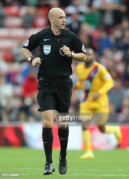 Premier League Referee Anthony Taylor during the Premier League match between Sunderland and Crystal Palace FC on September 24 2016 in Sunderland...