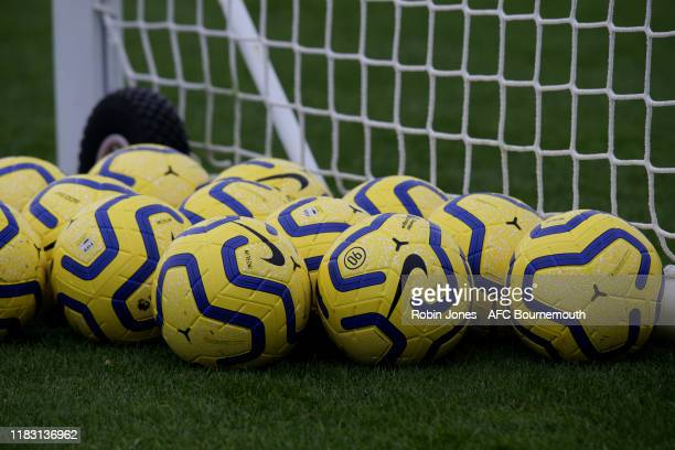 Premier League winter match balls seen during a training session at the Vitality Stadium on October 24 2019 in Bournemouth England