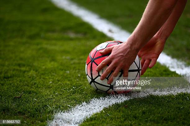 Premier Leauge ball is placed down before a corner kick during the Barclays Premier League match between AFC Bournemouth and Swansea City at Vitality...