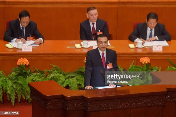 Premier Li Keqiang delivers his report during the opening session of the National People's Congress at The Great Hall of People on March 5 2017 in...