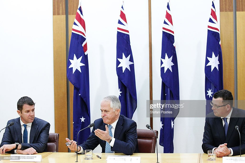 Premier Mike Baird, Prime Minister Malcolm Turnbull and Victorian Premier Daniel Andrews during the signing of the National Disability Insurance Scheme at Parliament House on September 16, 2015 in Canberra, Australia. Malcolm Turnbull was sworn in as Prime Minister of Australia on Tuesday, replacing Tony Abbott following a leadership ballot on Monday night.