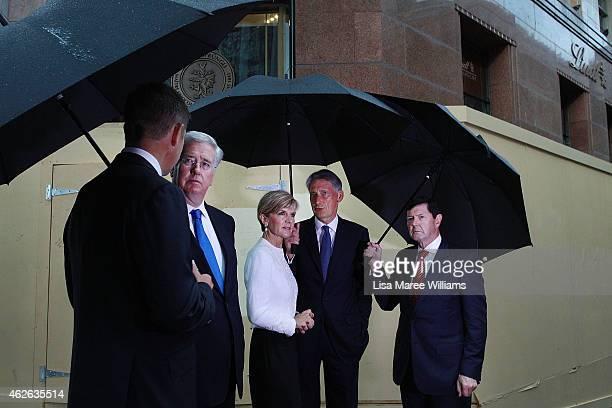 NSW Premier Mike Baird UK Secretary of State for Defence Michael Fallon Australian Minister for Foreign Affairs Julie Bishop UK Secretary of State...