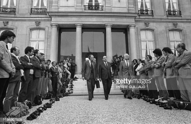 Premier ministre Raymond Barre, accompagné de Jean-François Deniau , ministre du Commerce extérieur et d'André Giraud, ministre de l'Industrie,...