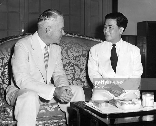 Premier Ngo Dinh Diem and General Lawton Collins talk during the latter's final visit to Independence Palace Saigon Vietnam May 13 1955 Collins...