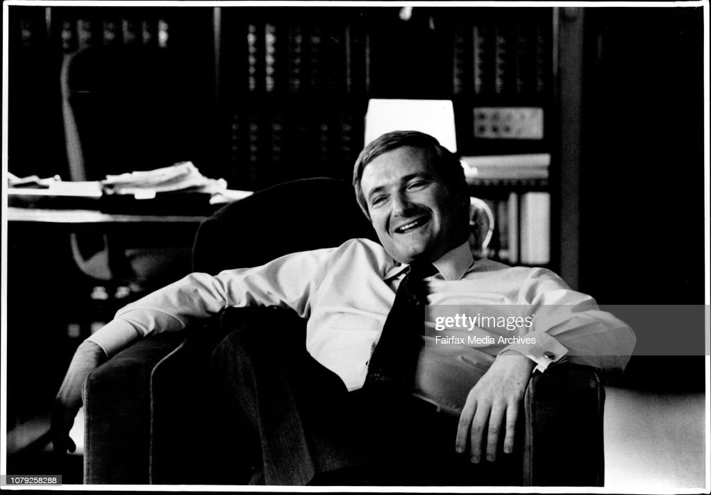 NSW Premier Nick Greiner pictured in his office at State Parliament