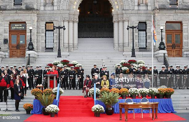 Premier of British Columbia Christy Clark speaks as 28th Governor General of Canada David Johnston, Her Excellency Sharon Johnston, Catherine,...