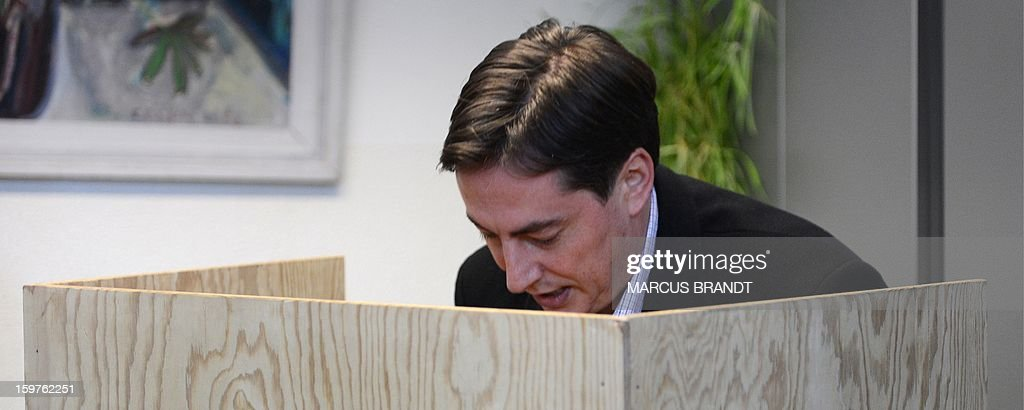 Premier of Lower Saxony and CDU top candidate David McAllister votes at a polling station in Bad Bederkesa, Germany, on January 20, 2013. The vote is largely seen as a test run for autumn's federal election in September.