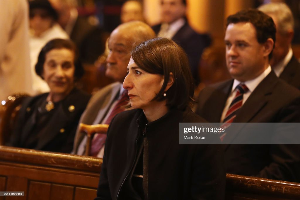Premier of New South Wales Gladys Berejiklian attends the State Funeral service for Les Murray at St Mary's Cathedral on August 14, 2017 in Sydney, Australia. Murray, an Australian sports journalist and soccer broadcaster died on July 31, 2017 aged 71.