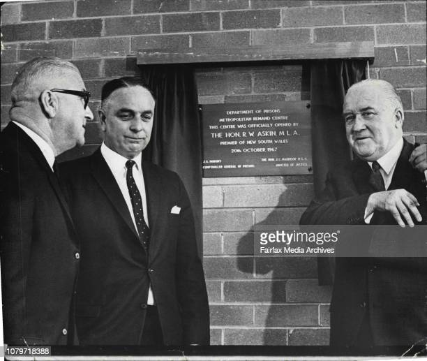 Premier of NSW Mr Askin officially opened the Metropolitan Remand Centre at Long Bay Gaol this afternoon Then after the opening the official party...