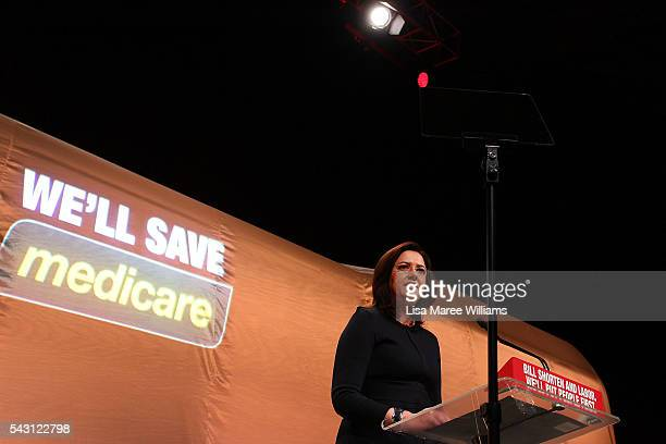 Premier of Queensland Annastacia Palaszczuk speaks during the Queensland Labor Campaign Launch at the Brisbane Convention and Exhibition Centre on...