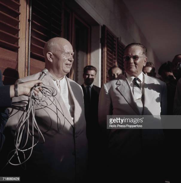 Premier of the Soviet Union Nikita Khrushchev pictured on left with Josip Broz Tito President of Yugoslavia during a visit to Brijuni Islands in...