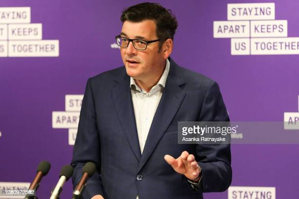 Premier of Victoria Daniel Andrews addresses the media during his daily press conference as Melbourne recorded 4 new Covid-19 cases and one death on...