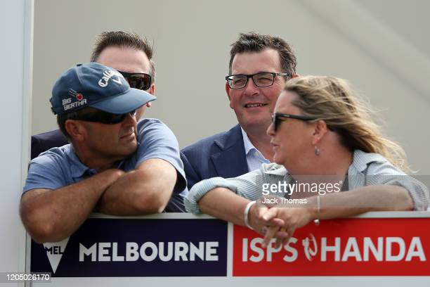 Premier of Victoria Daniel Andrews looks on at the 15th Beach Course hole during Day Four of the ISPS Handa Vic Open at 13th Beach Golf Club on...