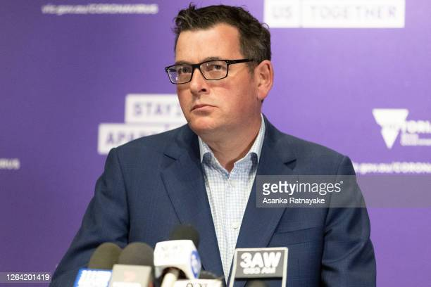 Premier of Victoria Daniel Andrews on August 06, 2020 in Melbourne, Australia. Retail stores across Melbourne are closed to customers as part of...