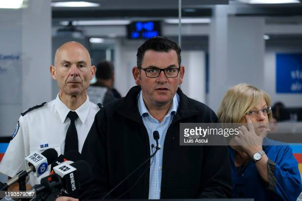 Premier of Victoria Daniel Andrews speaks about Victorian bushfires next to Minister for Police and Emergency Services Lisa Neville and Victoria...