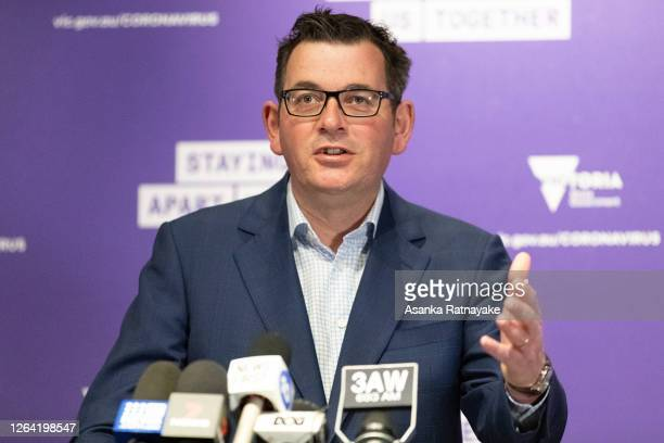 Premier of Victoria Daniel Andrews speaks to the media during a press conference on August 06, 2020 in Melbourne, Australia . Victoria recorded 471...