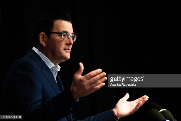 Premier of Victoria Daniel Andrews speaks to the media during a press conference on August 06 2020 in Melbourne Australia Retail stores across...
