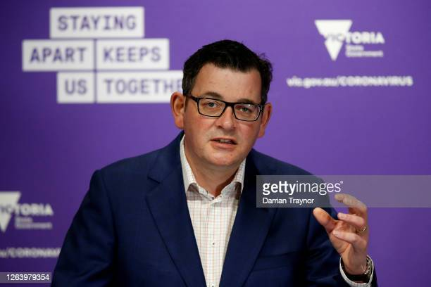 Premier of Victoria Daniel Andrews speaks to the media during the daily COVID-19 briefing on August 05, 2020 in Melbourne, Australia. Retail stores...