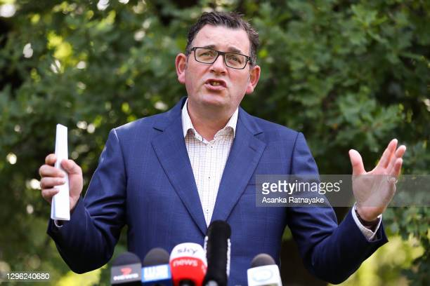 Premier of Victoria Daniel Andrews speaks to the media on January 14, 2021 in Melbourne, Australia. Victorian premier Daniel Andrews has announced...