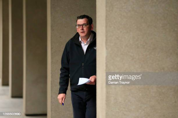 Premier of Victoria Daniel Andrews walks to the daily briefing on July 11, 2020 in Melbourne, Australia. Metropolitan Melbourne and the Mitchell...
