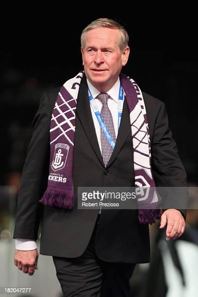 Premier of Western Australia Colin Barnett arrives for the 2013 Blackwoods North Melbourne Grand Final Breakfast at Etihad Stadium on September 28...