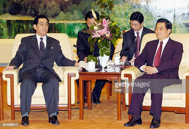 Premier Pak Bong Ju of the Democratic People's Republic of Korea and Chinese President Hu Jintao meet at Fujian Halll the Great Hall of People on...