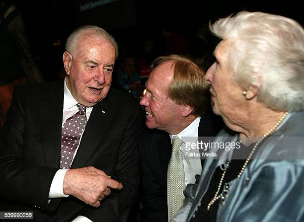 QLD Premier Peter Beattie with ex PM Gough Whitlam and wife Margaret 9 March 2006 AFR Picture by ROBERT ROUGH