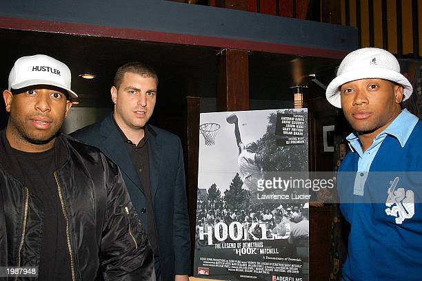 DJ Premier producer Rob Stone and Atlanta Falcons running back Jamal Anderson appear at the afterparty for the world premiere of the documentary...