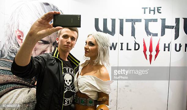 Premiere and the first customers buying game The Witcher 3 Wild Hunt Poland Warsaw 18 May 2015