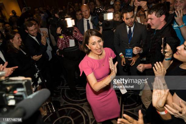 Premiere Gladys Berejiklian celebrates her win at the Sofitel Wentworth on March 23 2019 in Sydney Australia The 2019 New South Wales state election...