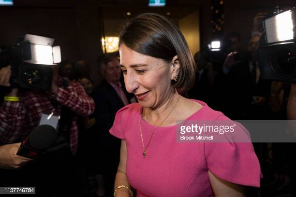 Premiere Gladys Berejiklian celebrates her win on March 23 2019 in Sydney Australia The 2019 New South Wales state election is being held to elect...