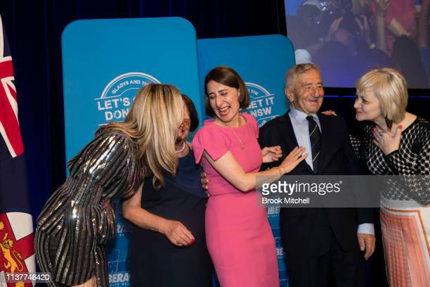 Premiere Gladys Berejiklian celebrates her win with sister Mary mother Arsha father Krikorat and sister Rita father on March 23 2019 in Sydney...