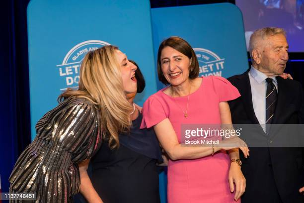 Premiere Gladys Berejiklian celebrates her win with sister Mary mother Arsha father Krikorat on March 23 2019 in Sydney Australia The 2019 New South...