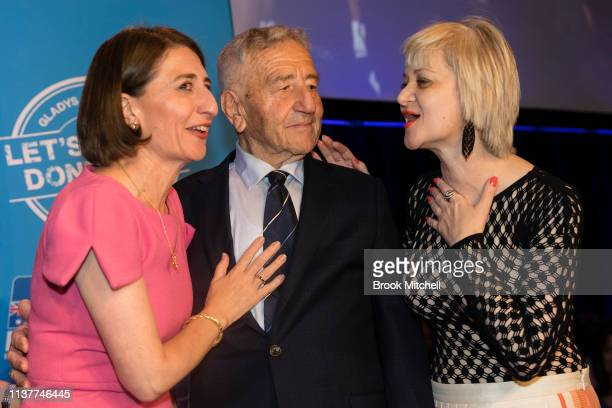 Premiere Gladys Berejiklian celebrates her win with sister Rita and father Krikorat on March 23 2019 in Sydney Australia The 2019 New South Wales...