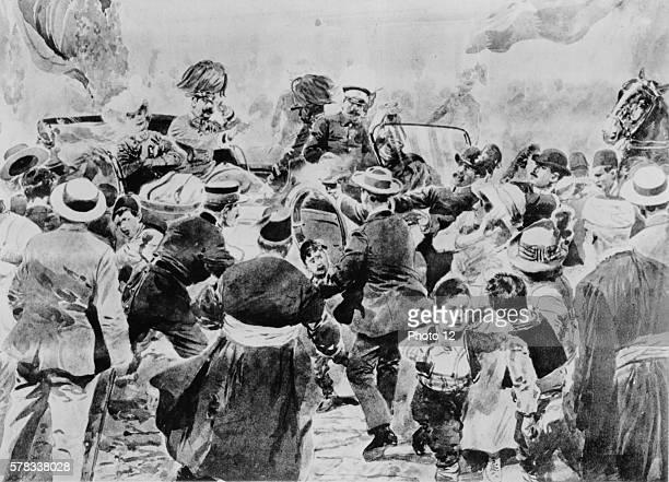 Premiere Guerre Mondiale Assasination attempt in Sarajevo 28th June 1914 Archduke Franz Ferdinand and his wife the Duchess of Hohenberg were...