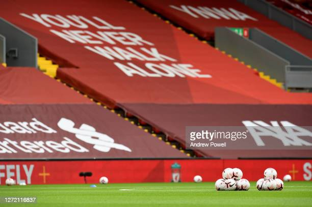 Premiere league balls during the Premier League match between Liverpool and Leeds United at Anfield on September 12, 2020 in Liverpool, England.