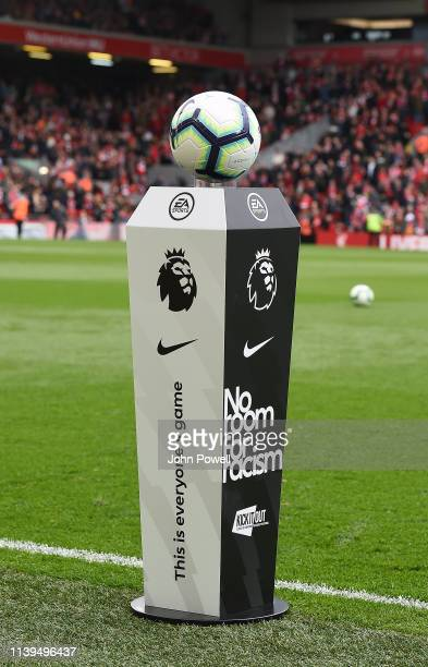 Premiere League Podium before the Premier League match between Liverpool FC and Tottenham Hotspur at Anfield on March 31 2019 in Liverpool United...