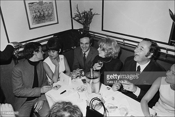 Premiere of Clerambard by Yves Robert in Paris France on October 03 1969 Dany Carrel and husband Francois Truffaut Catherine Deneuve Phlippe Noiret...