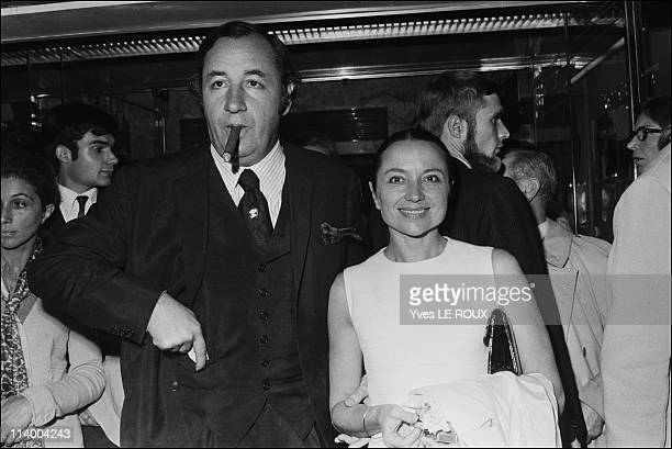 Premiere of Clerambard by Yves Robert in Paris France on October 03 1969 Phlippe Noiret and Monique Chaumette