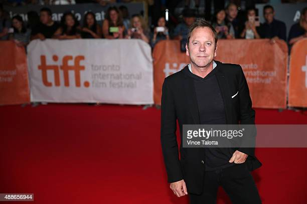 TORONTO ON SEPTEMBER 17 Premiere of Forsaken film at TIFF September 17 2015 Actor Keifer Sutherland poses for pictures on the red carpet at the...