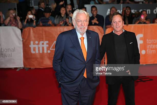 TORONTO ON SEPTEMBER 17 Premiere of Forsaken film at TIFF September 17 2015 Actors Donald Sutherland and son Keifer pose for pictures on the red...