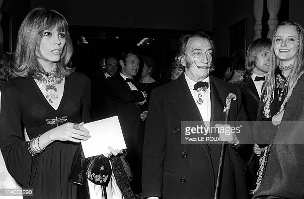 Premiere of 'Moulin rouge' in Paris France on April 08 1970Salvador Dali with Amanda Lear